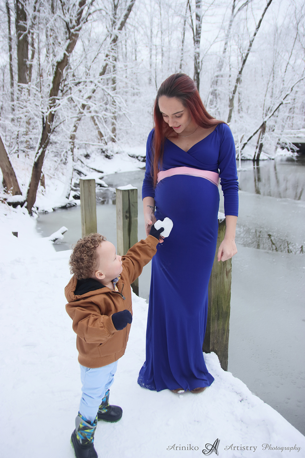 Maternity session in January at Harris Nature Center in Okemos, Michigan